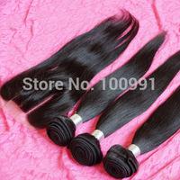 Queen Virgin Bellami hair extension Malaysian virgin hair silk straight 3 bundles with 1pc 3 parts closure natural color 1b#