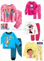 100% cotton baby hello kitty pijamas/2- piece set long-sleeved baby boy child children sleepwear suits children pajamas #03