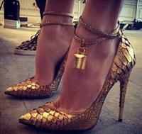 Top Selling Luxury New Spring Summer 2014 Gladiator Women Pumps GZ Designer Golden Lock High Heels Plus Size Wedding Shoes Woman