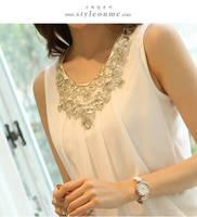 New 2014 Summer Women Fashion Sleeveless  vest straps bottoming shirt wrinkled white chiffon blouse shirts