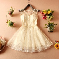New 2014 women's summer O-neck sleeveles chiffon cute princess dress free shipping
