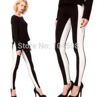 Black white stitching Spliced Elasticity Panelled Slim Fashion Pencil Pants Wholesale cheap 6 size Multi Dimension pants HDY33