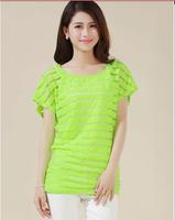 5XL Loose Batwing Short Sleeve Striped T-shirt for Women Summer Cotton Plus Size L XL XXL XXXL 4XL 5XL Top green white black red