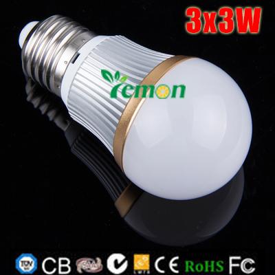 Dimmable 9W 3x3W E27 LED Bulb Lamp Super Bright Epistar led down spotlight light Cold White Warm White AC 100-245V 3pcs/lot(China (Mainland))