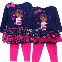 Retail New Arrival.2-4Y Kids DOC Mcstuffins 2 pcs Suit, Girls Long Sleeve Dress+ Leggings, Children's Clothing Sets