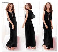 2014 European and American Bohemia Long Beach Dress Solid Color No Sleeve Chiffon Dress Summer Dress Free Shipping