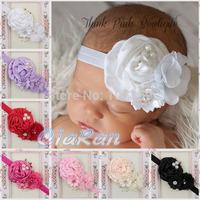 New Infant Baby Headband Satin Ruffled Flower Toddler Headband Girls Hair Accessories Hairband 10pcs/lot HB045