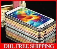 50pcs DHL freeship New arrival Luxury Sparkling Diamonds Rhinestones Aluminum Bumper Frame Cover Skin Case for Samsung Galaxy S5