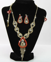 Elaborate Collar Clear Glass Rhinestone Alloy Jewelry Set 4 Types