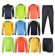Top Tailândia Qualidade 7 Cores Futebol Calças Camisa uniformes de futebol Treinamento porteiros Goleiro Futebol Jersey infantis(China (Mainland))