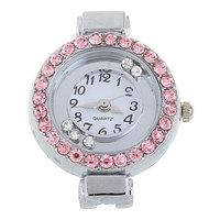 2PCs Pink Rhinestone Round Quartz Watch Faces W/Battery Silver Tone 3.3x2.8cm (Over $100 Free Express)