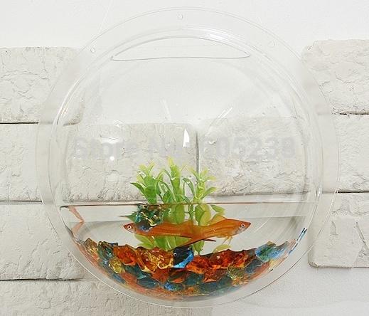 Wholesale 10 pieces Acrylic Wall Aquarium / Wall Fish Bowls / wall fish tank (26 * 26 cm) Novelty Gift(China (Mainland))
