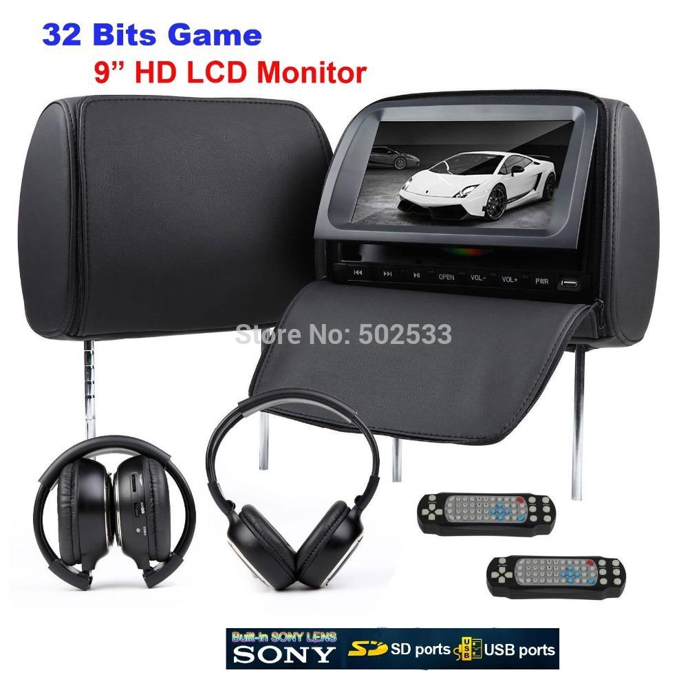 "2x9"" Car Pillow Headrest Monitor DVD Player + Free Wireless Headphone(China (Mainland))"