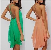 2014 fashion sexy spaghetti strap back metal buckle cross cutout sleeveless solid color chiffon one-piece women's dress FC3025