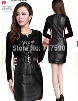 2014 women's dress Slim fashion PU flower patchwork hip slim dress women's leather plus size 3XL leather dress mother clothing