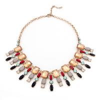 Europe Style Vintage Geometric Shape Rhinestone Hot Sale High Quality Women Necklaces Pendants (2 pieces/lot)