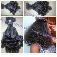 Hot sale Grade 6A 3pcs/lot #1b tip bouncy curl virgin peruvian aunty funmi hair for black women no tangle&no shed free shipping