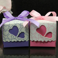 2014New Arrival Free Shipping European Style Double Loving Heart Pattern Sweet Box 100pcs 50334#