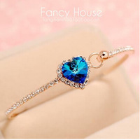 2014  Fashion Jewelry  Bracelet crystal zircon Rose Gold Bracelet Heart Love Bracelet for Women OL Designer Brand Bracelet