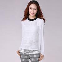 2014 Women Slim Chiffon Shirt New Fashion Spring Summer Long Sleeve Plus Size Blouse Hollow Out Loose Women Clothing S-XXXL