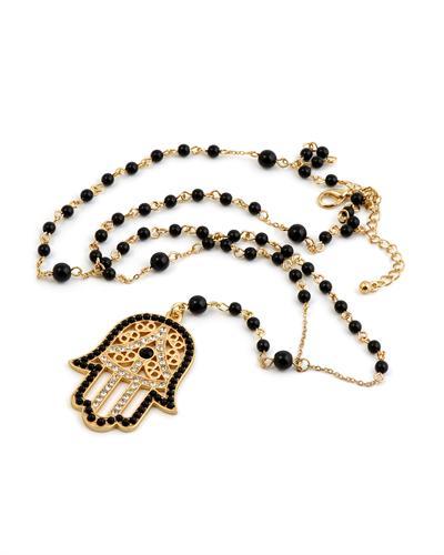 wholesale alloy pave rhinestone hamsa hand pendant with chain black ball necklace(China (Mainland))