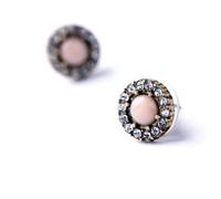 New Style Fashion small pink flower shape women stud earrings with rhinestone ---free shipping