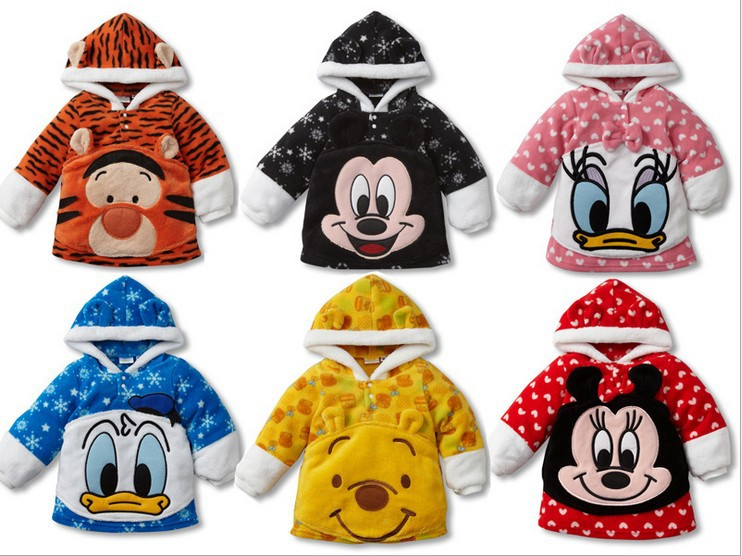Retail spring 2014 children's clothing boys girls pullover Hoodies kids Fleece children cartoon mickey coats(China (Mainland))
