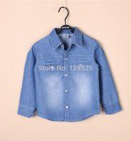 Hot New 2014 Baby Kids Spring Autumn Boys Cotton Denim Shirts Children Outwear Cowboy Shirts Long Sleeve Casual Shirts Retail