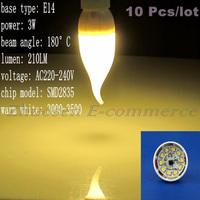 10 Pcs/lot Free Shipping E14 10 SMD 2835 LED Warm White AC220V-240V 3W Energy-saving Light Lamp Bulb LEDQP047