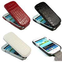 New Deluxe Crocodile Leather Flip Case For Samsung Galaxy S3 Mini i8190  + screen protector