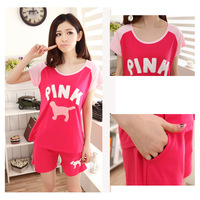Pink short-sleeve casual sports shorts cotton sleep 100% women's lounge set nighwear