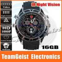 16GB HD 1080P High Resolution Waterproof DVR camera Watch Sound Activation with IR Night Vision Men's Quartz WEBCAM Wrist Watch