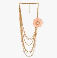 YX002 2014 new fashion Long sweater chain pearl multilayer women chiffon flowers statement choker necklace