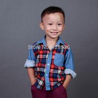Hot New 2014 Baby Kids Spring Autumn Boys Plaid Denim Shirts Children Outwear Cowboy Shirts Long Sleeve Casual Shirts Retail 02