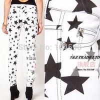 2014 new style Low waist Slim Tight Star pattern Fashion Leisure women white Pencil Pants Free shipping 6 size Pants HDY41