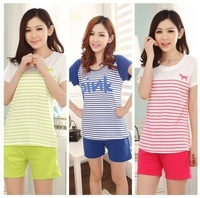 2014 summer short-sleeve cartoon women's set sleepwear cotton sleep set lounge pajama