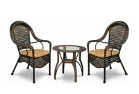 Outdoor Rattan Patio Furniture Dining Table with 2 Chairs