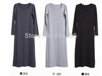 2015 Summer new women cheap plus size long sleeve cotton casual maxi dress free shipping