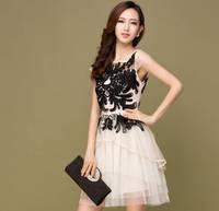 Brand New 2014 Summer Women's Embroidered Elegent Lace Party Dress Vestido de renda festa Black White Novelty Evening Dresses
