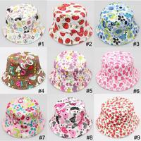Mixed Style Children Bucket Hat Summer Topee Kids Sunhat Toddler Sunbonnet Boy Girl Cowboy Hat 10pcs/lot Free Shipping MZX-012