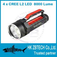 2014 New Professional Large power diver flashlight Diving Up to 200m depth 4x CREE XML 8000Lm L2 LED Diving Light Flashlight