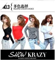 Free Shipping!!! 2014 Spring sweet sexy slit neckline strapless top female t-shirt long-sleeve basic modal shirt FA1048-077