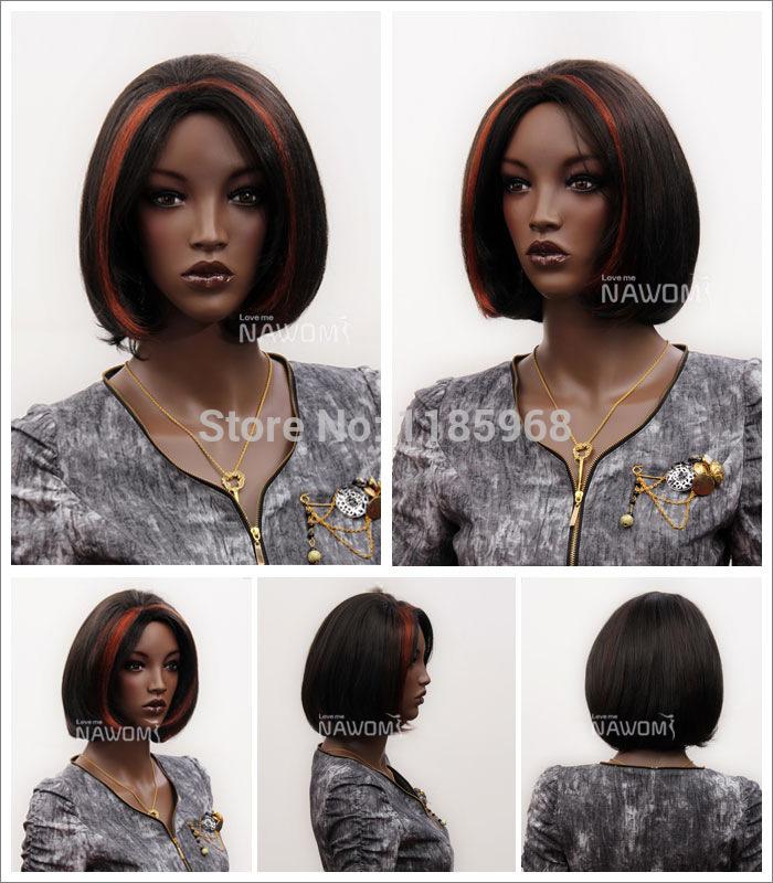 2014 de Moda de Nova NAWOMI peruca com franja 13''Wig 100% Kanekalon sintético Bob Fluuffy África Curto Celebrity Penteado peruca(China (Mainland))