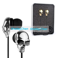 2014 New 3.5 mm High Performance Metal skull headphone gold and silver Personality earphone In ear headphones headset