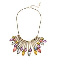 Europe Retro Color Rhinestone Water Drop Vintage  Women Necklace (6 pieces/lot)