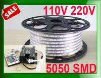 110v 120v 220v 230v led lamps 5050 SMD led strip rope tape ribbon light + RGB led strip controller + 10m 20m 30m 40m 50m lot