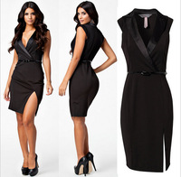 Sexy  Women Black Deep V Tailored Collar OL Work Office Lady Dress With Belt Dress M L formal dress  850669