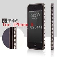 Fashion Luxury Jewel Crystal Bling Diamond Metal Frame Rhinestone Bumper Case Cover For iPhone 4 4S 5 5S Slim Gold 1pcs/lot