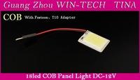 Wholesale 2PCS/LOT 3W T10 COB Chip 18 LED Dome Festoon Lamp White Light Panel Interior Adapter Car Led Panels Bulb