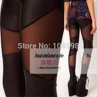 2014 Wholesale cheap PU Patchwork Gauze Fashion Leisure Slim Sexy women black Leggings Free shipping 6 size leggings pants HDY42